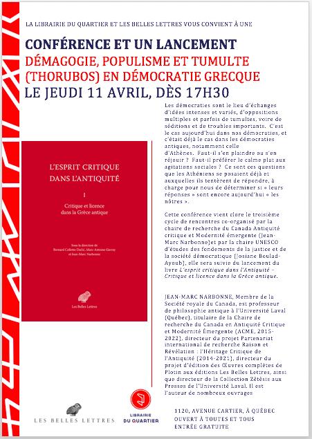 Conférence Thorubos, Jean-Marc Narbonne, jeudi 11 avril 2019, Librairie de Quartier, ACMÉ-UNESCO et Lancement tome 1 de l'esprit critique dans l'Antiquité