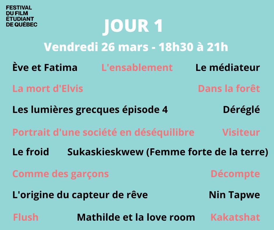 FFEQ Jour 1 le vendredi 26 mars 2021 : 18 films courts présentés dont notre Épisode 4 des Lumières grecques
